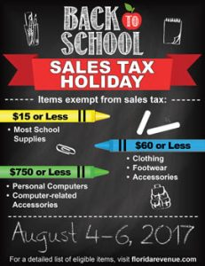 Back to School Tax Holiday Poster